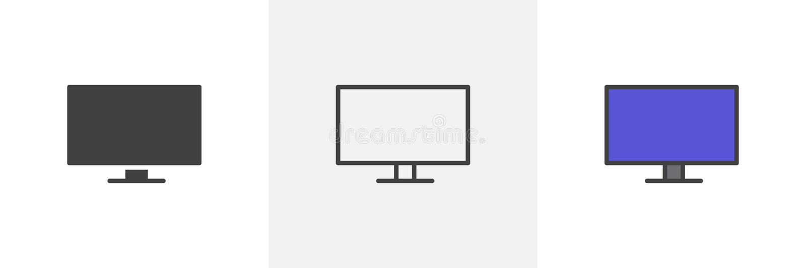 Blank Screen TV icon. Line, glyph and filled outline colorful version, Wide monitor display outline and filled vector sign. Symbol, logo illustration stock illustration