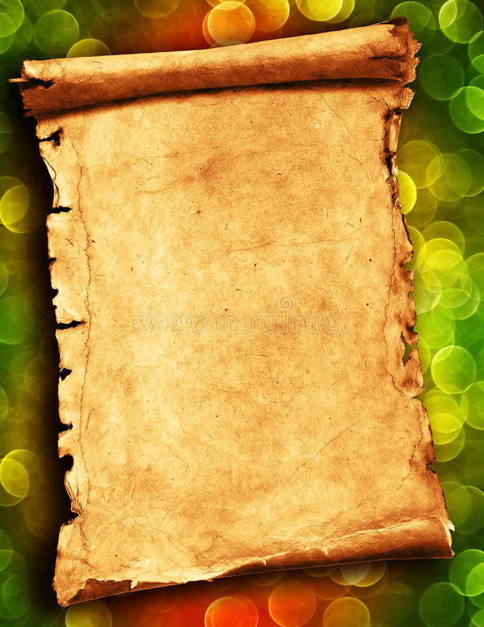 Blank scroll or parchment stock image