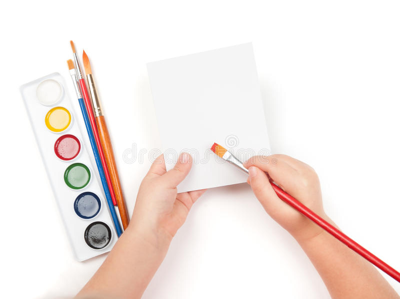 Download Blank Sheet In Child Hand With Paintbrush Royalty Free Stock Photography - Image: 28924317