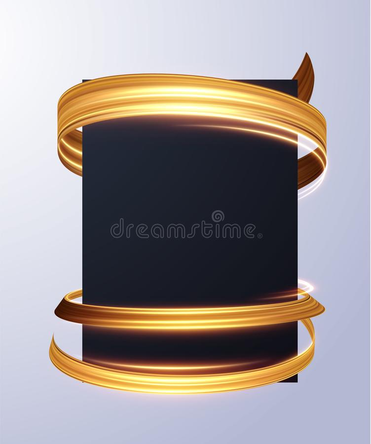 Blank sheet with golden ribbon wrapped around. Vector eps10. vector illustration