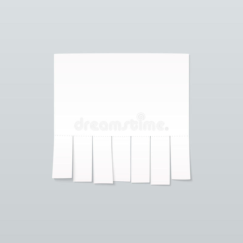 Blank sheet of paper advertising with cut slips. On light gray background stock illustration