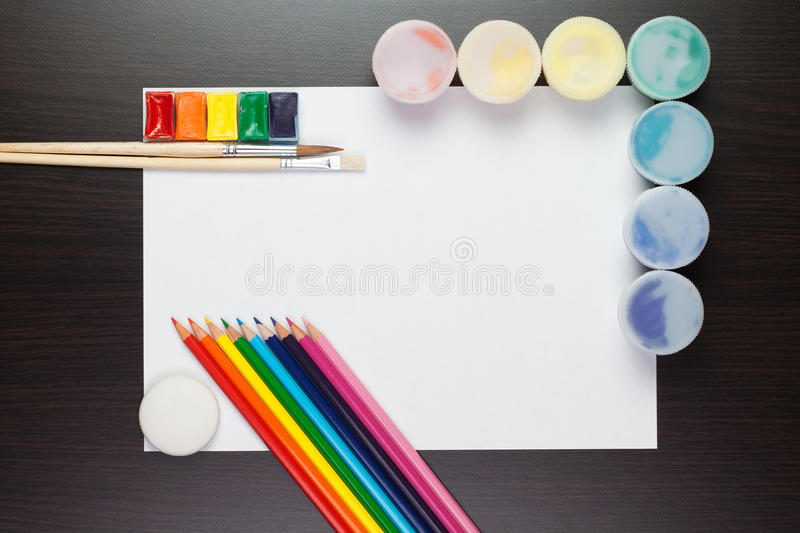 Download Blank Sheet Of Paper On The Brown Table Stock Image - Image: 19159211
