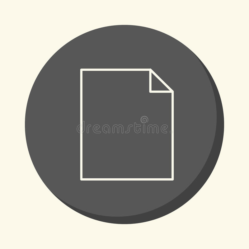 Blank sheet of paper with a curved corner, a circular linear icon with an illusion of volume. royalty free illustration