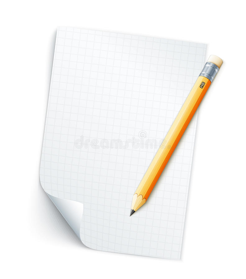 Blank sheet of paper with grid and pencil vector illustration