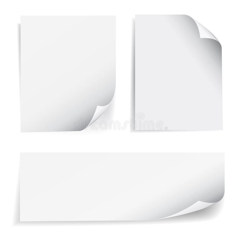 Blank Sheet Paper Page Curl Set. Set of blank sheet of paper with page curl and shadow effect, design element for advertising and promotional message on white royalty free illustration