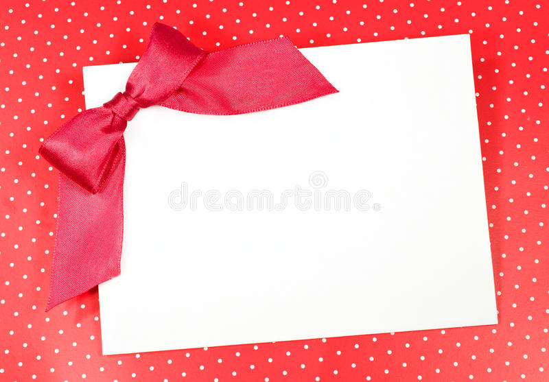 Download Blank sheet with a red bow stock image. Image of celebrate - 27406291