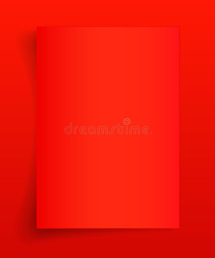 Blank A4 sheet of red paper with shadow, template for your design. Set. Vector illustration royalty free illustration