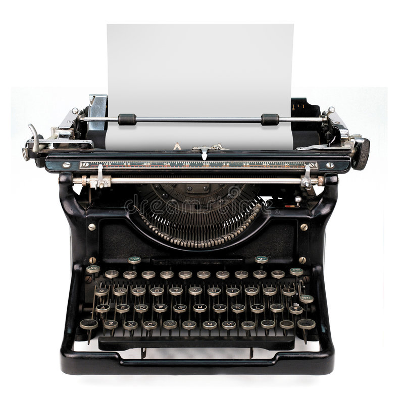 Blank sheet in a typewriter. Old fashioned, vintage typewriter isolated on white background with a blank sheet of paper inserted