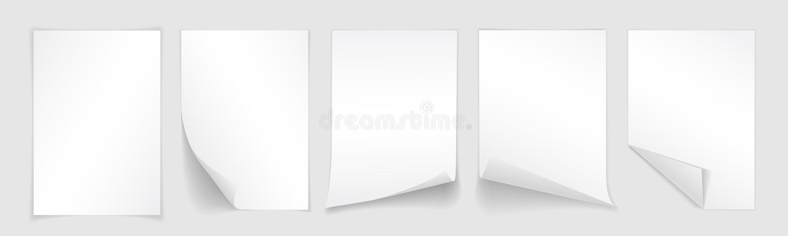 Blank A4 sheet of white paper with curled corner and shadow, template for your design. Set. Vector illustration.  vector illustration