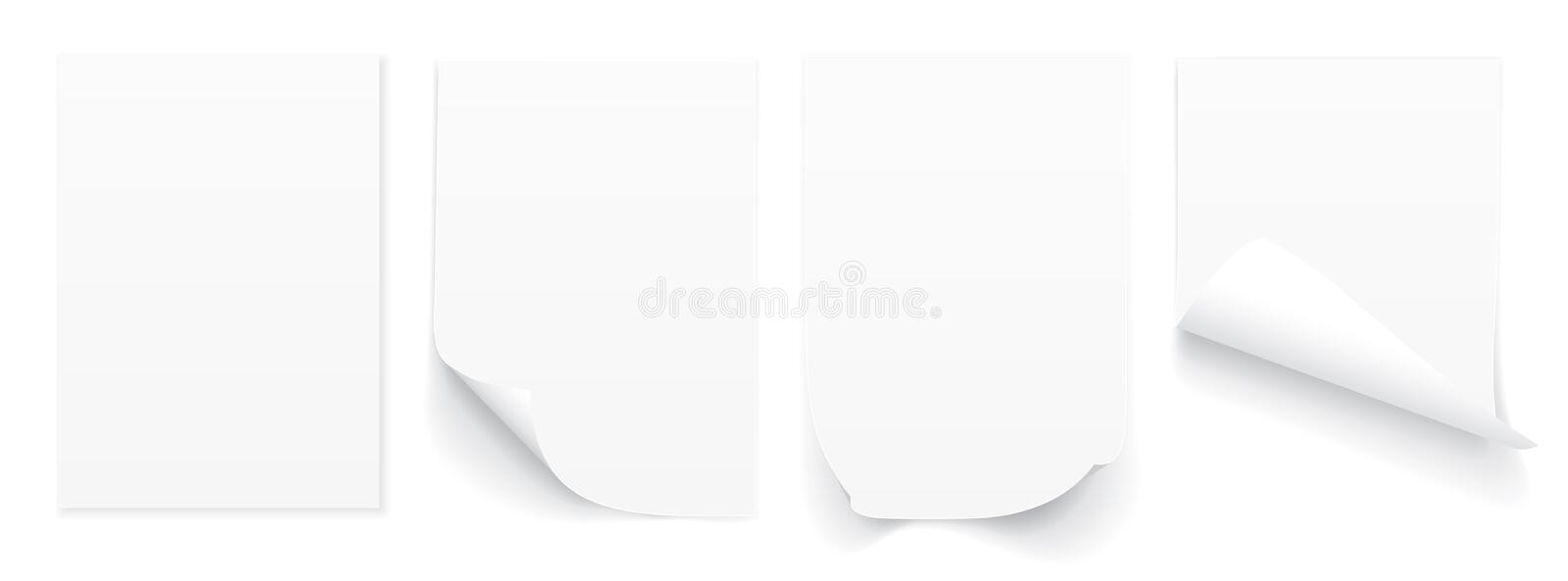 Blank A4 sheet of white paper with curled corner and shadow, template for your design. Set. Vector illustration royalty free illustration