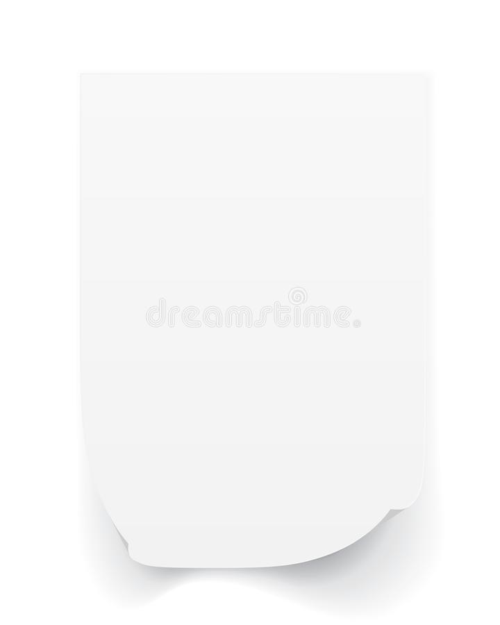 Blank A4 sheet of white paper with curled corner and shadow, template for your design. Set. Vector illustration stock illustration
