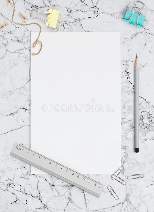 Blank Sheet Of White Paper On Marble Mockup For Social Networks