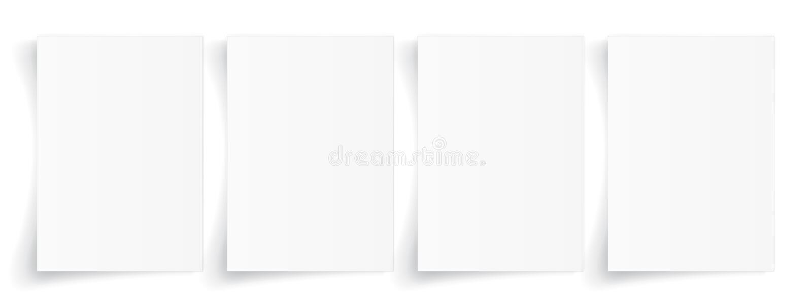 Blank A4 sheet of white paper with shadow, template for your design. Set. Vector illustration stock illustration
