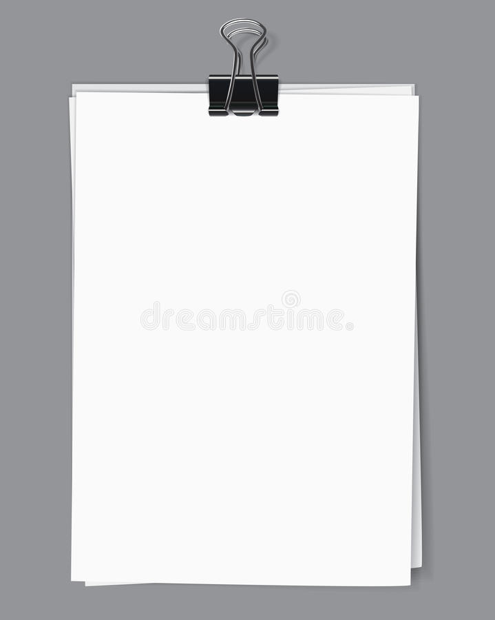 Blank sheets fastened by a binder clip. Blank sheets of paper fastened by a binder clip. Vector illustration royalty free illustration