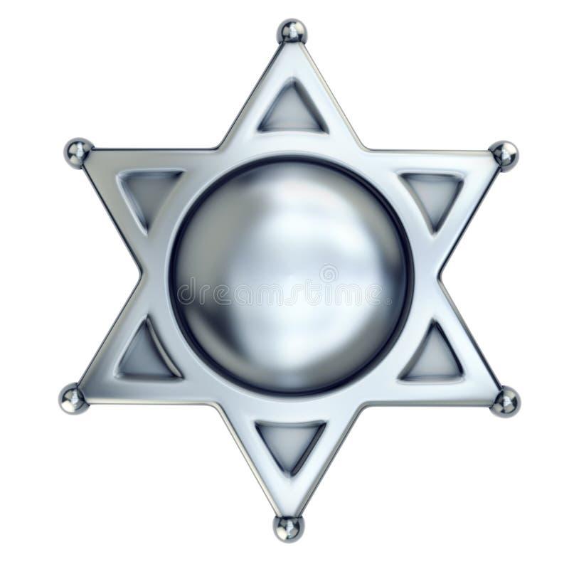 Blank sheriff badge. Isolated on white stock illustration