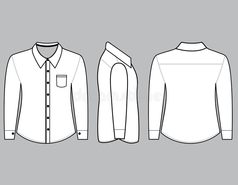 Blank shirt with long sleeves template stock illustration for 3 4 sleeve shirt template