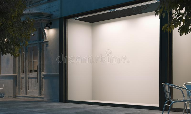 Blank shop window in the night street with light on the frame. 3d rendering stock illustration