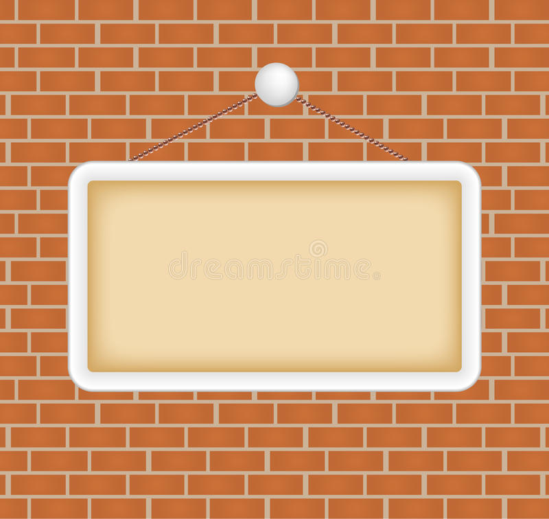 Blank sign at a brick wall royalty free stock photos for Brick sign designs