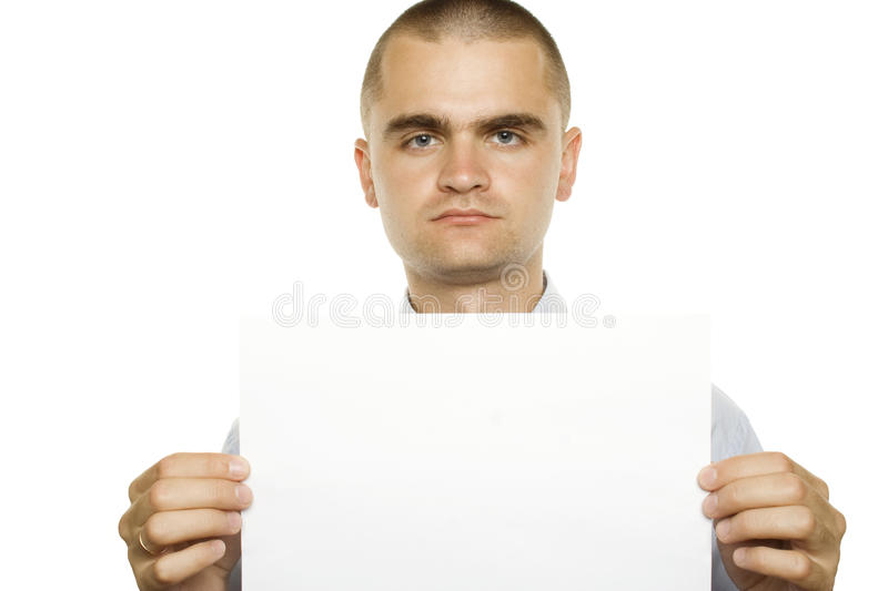 Blank sign - businessman. Business man holding a white card, space for writing. You can use them for whatever you want royalty free stock photo