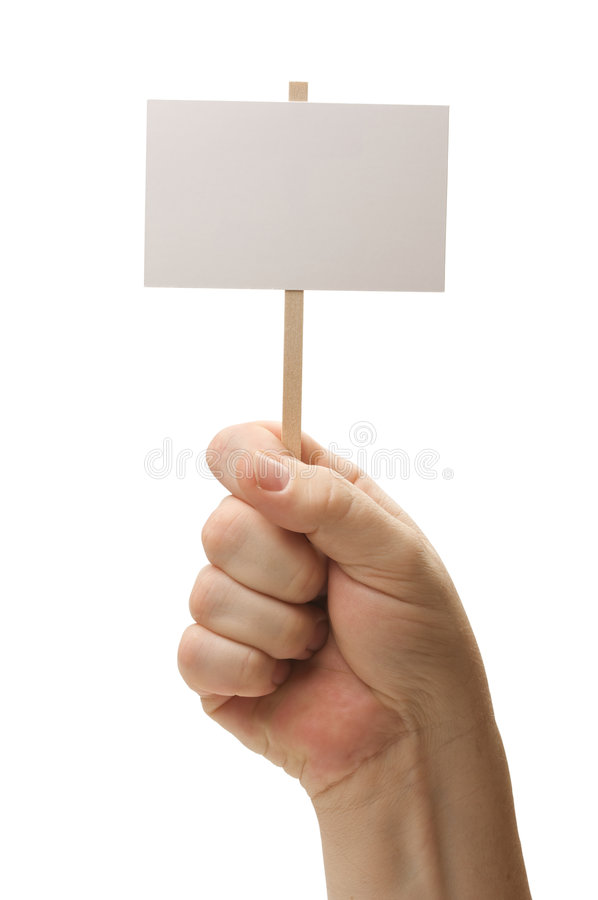Blank Sign In Fist On White stock images