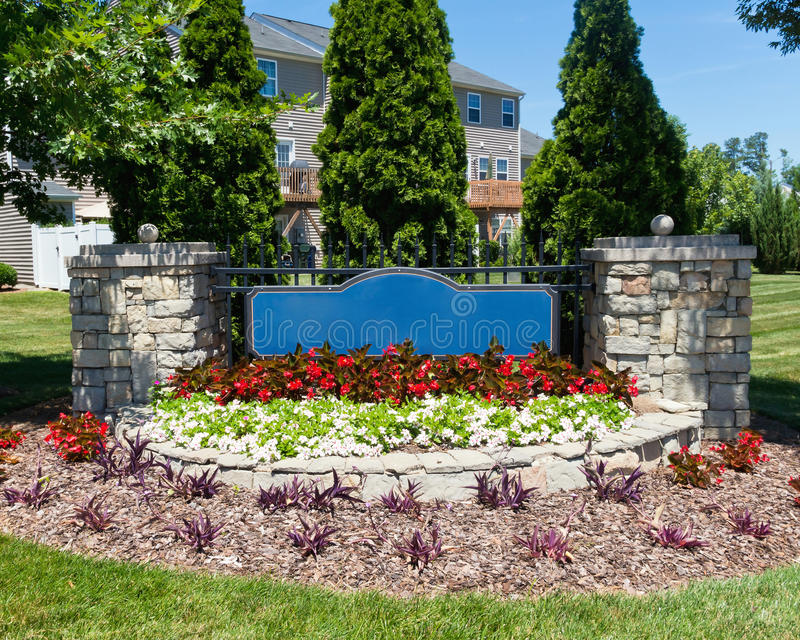 Download Blank Sign Of The Subdivision Entrance Stock Image - Image: 42518221