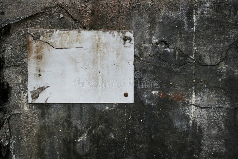 Blank sign on wall stock image