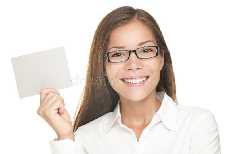 Blank sign woman smiling stock photos