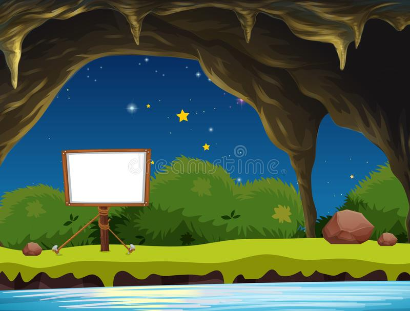 A Blank Signboard in Cave. Illustration stock illustration