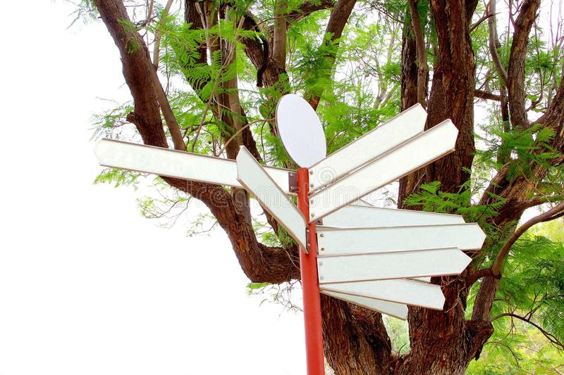 Blank signboards against a natural background. Blank signboards against the background of a tree with resh green leaves stock photos