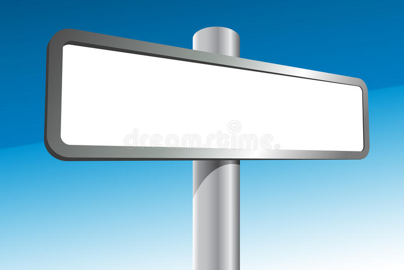 Blank Signpost. White blank Signpost isolated on blue background stock illustration