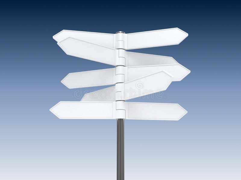 Blank signpost. On blue sky background royalty free illustration