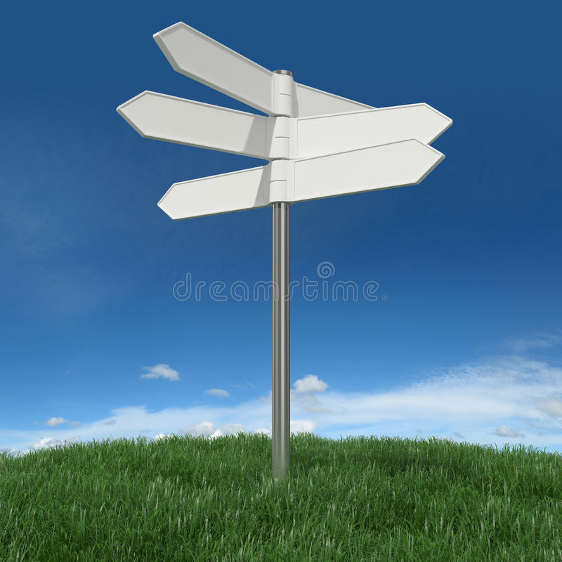 Blank signpost. On grass with sky background royalty free illustration