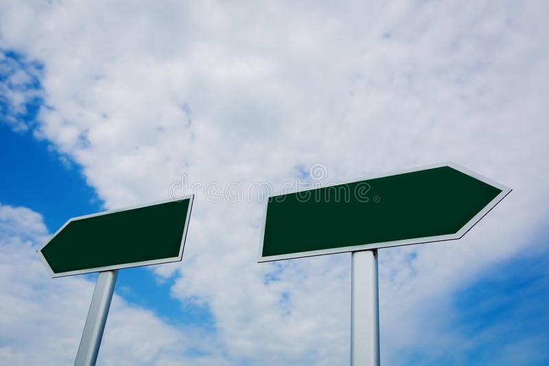 Blank signpost over blue sky royalty free stock images