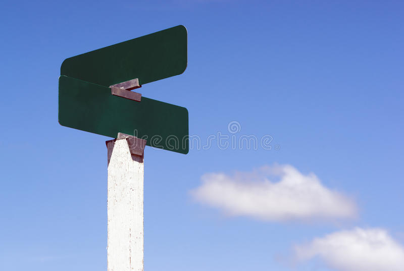 Blank Signs Crossroads Street Avenue Sign Blue Skies Clouds stock photography