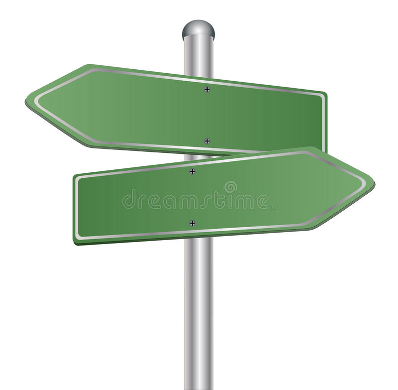 Blank signs pointing in opposite directions royalty free illustration