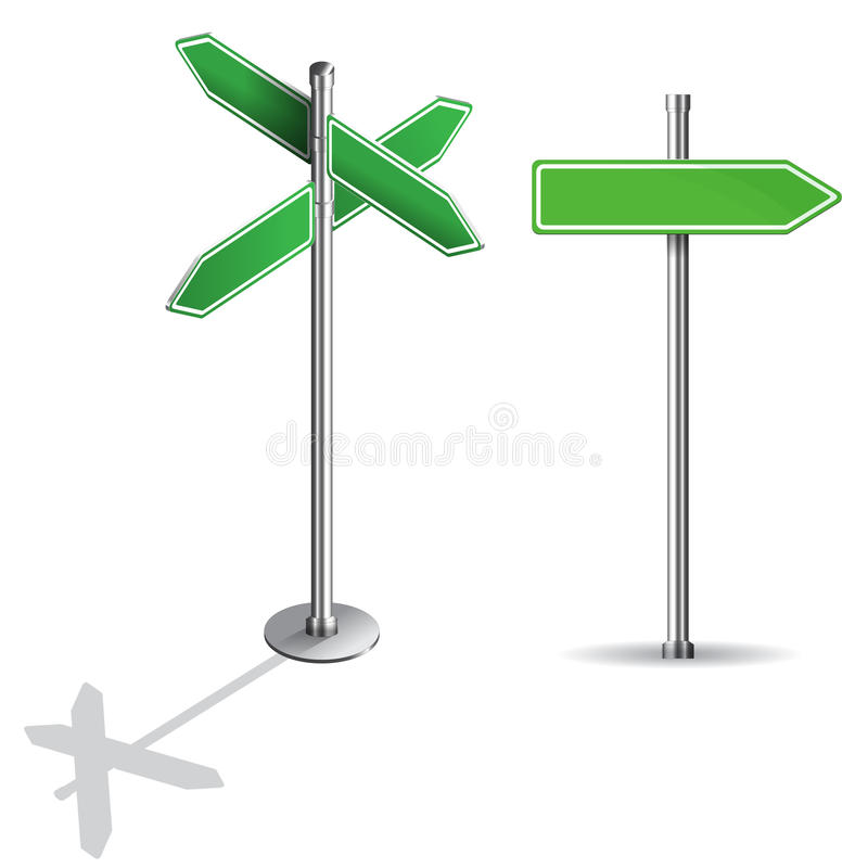 Blank signs pointing in opposite directions vector illustration