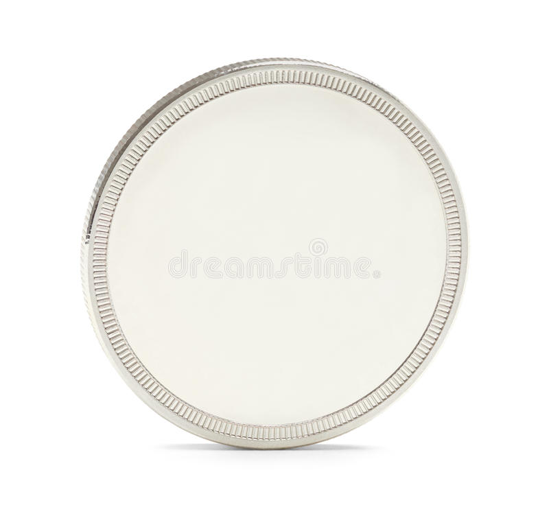 Blank Silver Coin. Silver Bullion Coin with Copy Space Isolated on a White Background stock photo