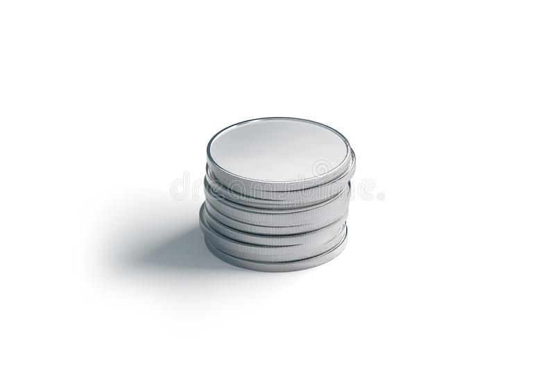 Blank silver coin stack mock up, isolated royalty free illustration
