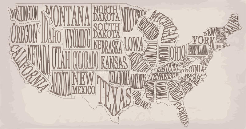 Blank similar high detailed decorative USA map on white background. United States of America country with lettering text state na vector illustration