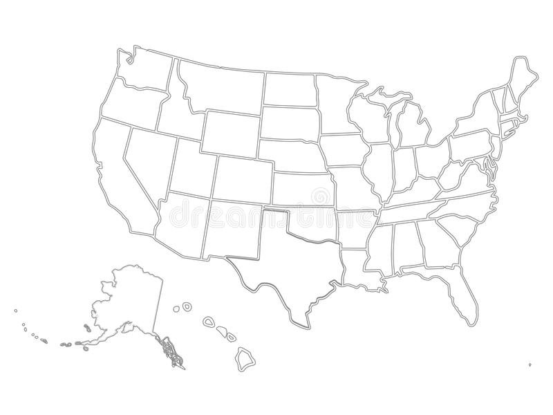 Blank Similar USA Map On White Background United States Of - Black and white usa map