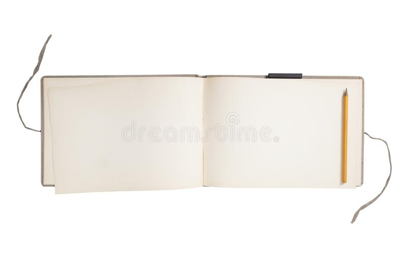 Blank sketch book. Old sketch book open with blank pages isolated on white background royalty free stock image