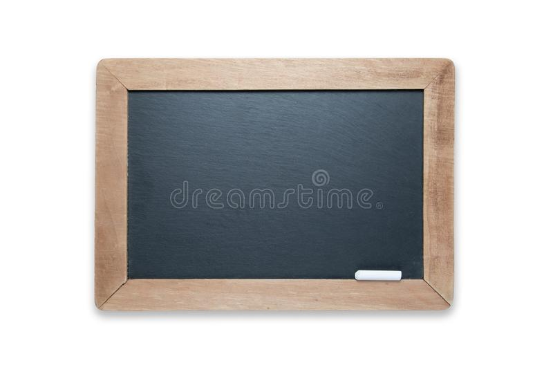 Blank Slate Black Chalk Board with Chalk Isolated on White - Contains Clipping Path stock photo