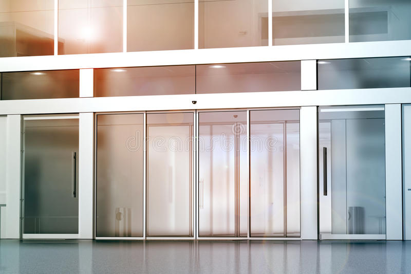 Delightful Blank Sliding Glass Doors Entrance Mockup, 3d Rendering. Commercial  Building Entry Mock Up. Office Exterior Outdoor Template. Emporium Facade  On Sunset, ...