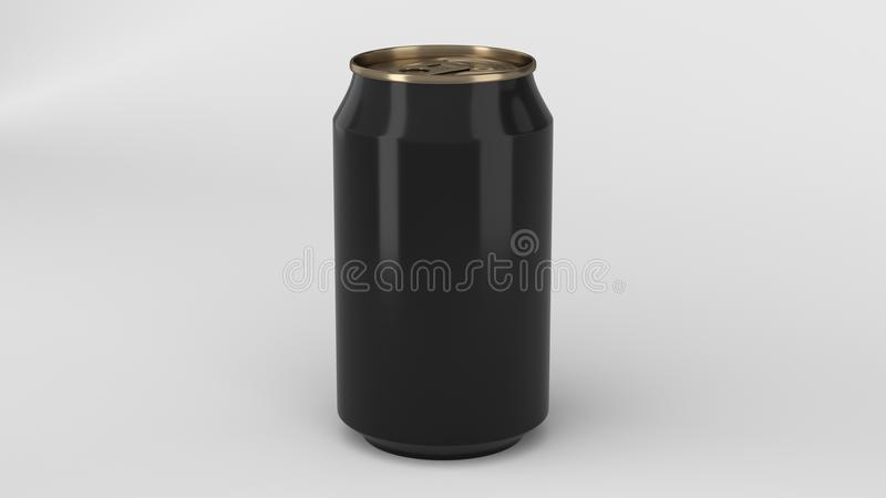 Blank small black and gold aluminium soda can mockup on white ba stock images