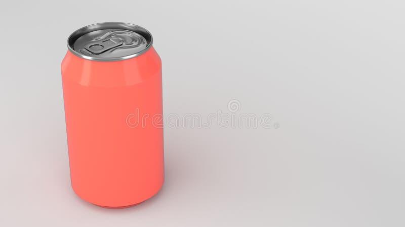 Blank small red aluminium soda can mockup on white background stock illustration