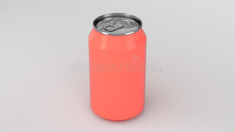 Blank small red aluminium soda can mockup on white background vector illustration