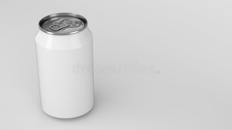 Blank small white aluminium soda can mockup on white background vector illustration