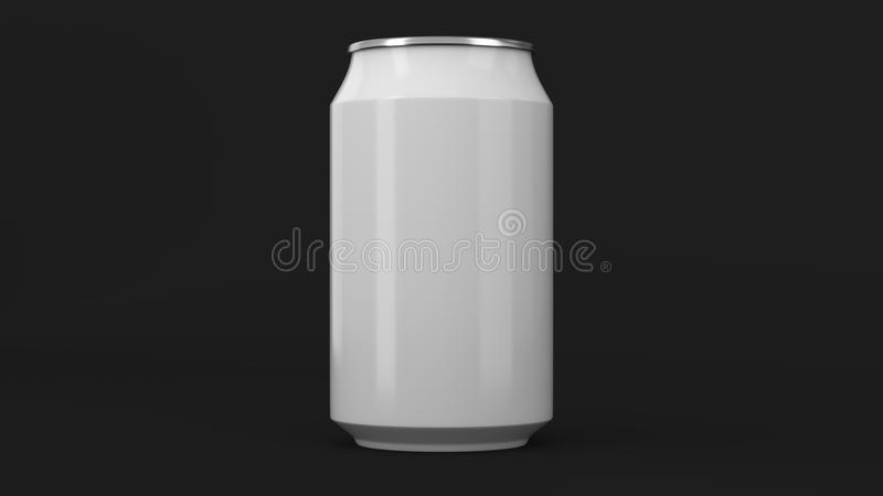 Blank small white aluminium soda can mockup on black background. Tin package of beer or drink. 3D rendering illustration royalty free illustration