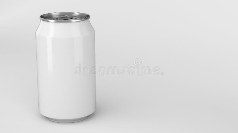 Blank small white aluminium soda can mockup on white background royalty free illustration