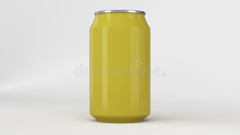 Blank small yellow aluminium soda can mockup on white background vector illustration